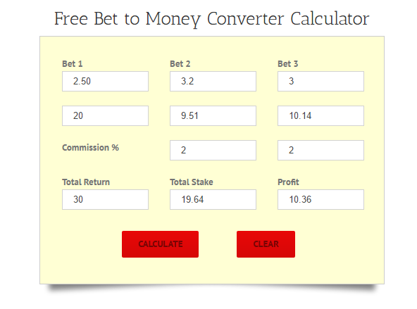 Free Bet to Money Converter Calculator